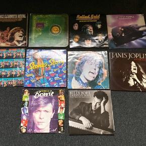 LP'er fra mange forskellige artister. De har nogle skønshedsfejl,  men selve LP'en fejler ikke noget.   75kr. Pr. Stk.  The Rolling Stones - Rewind The Rolling Stones - Stones story The Rolling Stones - Milestones The best of David Bowie Billy Joel Greatest Hits - Vol.1 & Vol.2 Janis Joplin - Anthology Deep Purple - Deepest Purple The Rolling Stones - Rolled Gold Alice Cooper - Billion Dollar Baby Creedence Clearwater Revival - Chronicle