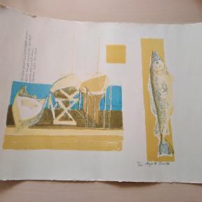 Originalt tryk på kraftigt papir Signeret og nummereret Anja M. Bache Måler 57x38cm Sender med dao kr. 38