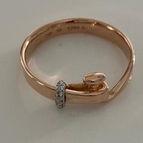 Super flot ring i 18kt rose gold fra Georg JENSEN med små brillanter  Str 57
