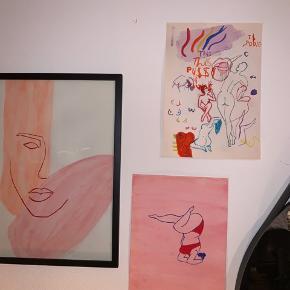 Billedet hedder: Venus kaos  Malet på vandfarver på A4   Malestil: feministisk, minimalistisk, femme   Skriv hvis du ønsker at få malet noget bestemt