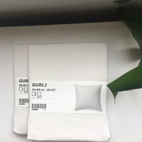 To råhvide pudebetræk fra IKEA. 100 % bomuld. Aldrig åbnet/brugt.