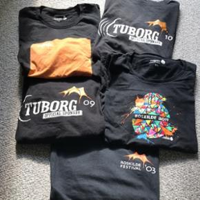 Roskilde festival medarbejder t-shirts.  2003. 2009. 2010. 2011. 2012.  Størrelse L. 2011 XL. Sælges samlet ialt for alle 5 stk = 200kr