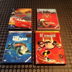 6 stk DVD'er fra Disney Pixar, sælges samlet for 70kr  Cars (Biler) Bumle Højt på strå Find Nemo De utrolige Toy Story 1, 2 og 3 - ER SOLGT Monsters Inc Græsrødderne
