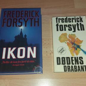 """Brand: - Varetype: Frederick Forsyth - """"Dødens Drabanter"""" og """"Ikon"""" Størrelse: - Farve: -  De to thrillere af Frederik Forsyth:     - """"Dødens Drabanter""""   - """"Ikon""""    Næsten som nye."""