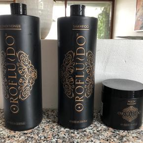 Orofluido Mask 500 ml (brugt 1 gang)   Orofluido Shampoo og conditioner 1000 ml (brugt få gange)  Samlet 200 kr
