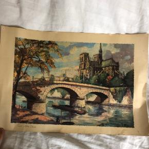 Super smukt maleri på lærredsagtigt papir af Notre Dame