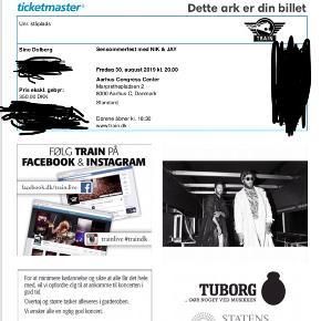 To billetter til Nik og Jay 30/8 i Aarhus.