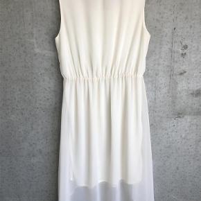 Varetype: KJOLE Farve: Råhvid Oprindelig købspris: 600 kr.  'Midi'-kjole fra Soaked in Luxury i en fin og florlet kvalitet med et gennemsigtigt yderlag og en hvid foring.    Kjolen er ærmeløs med en rund halsudskæring. Derudover har den elastik i taljen samt er kortere fortil end bagtil.    Den perfekte kjole til sommerfesterne ☀️