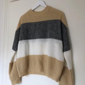 Super flot og blød sweater fra NA-KD 🤍🤎💛 Brugt ganske få gange - har en gullig plet foran (se billede). OBS! Det sidste billede er bagsiden af trøjen - fejler ellers intet ✨