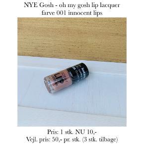 NYE Gosh - oh my gosh lip lacquer farve 001 innocent lips  Pris: 1 stk. NU 10,-  Vejl. pris: 50,- pr. stk. (3 stk. tilbage)   Se også over 200 andre nye produkter, som jeg har til salg herinde :-)