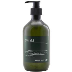 Meraki Men Hair & Body Wash 490 ml Nypris på Nettet 165kr Meraki Men Hair & Body Wash er en lækker eksklusiv og maskulin shampoo samt kropssæbe i et og samme produkt, velegnet til alle hudtyper. Denne hair & body wash fra Meraki er udviklet specielt til mænd og virker både rensende og plejende på hud og hår. Kombinationen af en sæbe til både hår og krop i én gør din baderutine hurtigere og lettere, og du har færre forskellige produkter at forholde dig til. Sæben efterlader både hår og hud rent og blødt. Ligeledes indeholder sæben ekstrakt fra kaktusblomsten, som efterlader et skønt, velduftende lag på huden og i håret.  Fordele:  Shampoo og Bodywash Til mænd Eksklusiv og maskulin Specielt udviklet til mænd Rensende og plejende Hurtig og let baderutine Rent hår og hud Kaktusblomst, aloevera og olivenolie Velduftende på hud og hår Uden parabener, SLS og kunstige farvestoffer Uden hormonforstyrrende stoffer Indeholder kun naturlige parfumer Velegnet til alle hudtyper Anvendelse:  Skummes op i vådt hår og skylles grundigt ud Skummes op på kroppen Skylles af med vand Kan anvendes dagligt