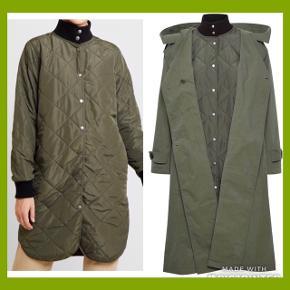 To-i-en frakke / overgangsfrakke / sommmerfrakke med udtagelig termojakke  Armygrøn frakke fra Inwear   - str. 36, men oversized model, så den kan bruges af en str. 36-38  Brugt 2 gange.  Nypris: 1900 kr. MP: 525 kr.  INGEN BYTTE!  Kan afhentes på Nørrebro eller sendes på købers regning.