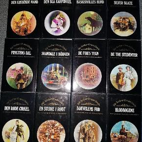 12 bind sherlock Holmes. Læst 1 gang. Flot Indbundet m løst omslag. Alle 12 bind sælges samlet for kun kr 100. Prisen sat så lavt fordi der på 1.side i alke bøgerne er skrevet navn.