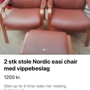 2 flotte stole med vippebeslag. 1 skammel.
