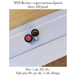 NYE Revlon - super lustrous lipstick farve 420 pearl  Pris: 1 stk. NU 30,-  Vejl. pris: 89,- pr. stk. (1 stk. tilbage)   Se også over 200 andre nye produkter, som jeg har til salg herinde :-)