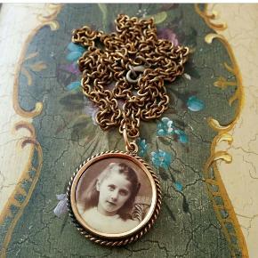 Super fin vintage halskæde medaljon Billedet kan udskiftes