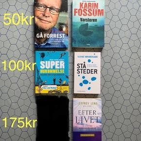 Helt nye. Kun de to øverste er læst 1 gang.  Prisen er 50, 100 og 175kr