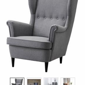 Ikea Strandmon lænestol med tilhørende skammel. Rigtig fin stand. Benene er afhøvlet, så de nu er i lys træ i stedet for de sorte :)