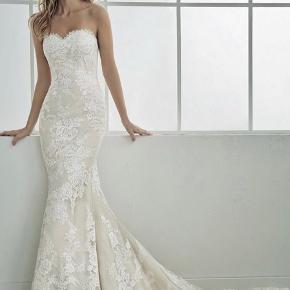 Sælger min smukke brudekjole købt i brud og Galla i Them. Jeg er 160 cm og havde 7 cm hæl på. Kan også passes af en str. 36. Omsyet for 3500 kr oveni købsprisen.