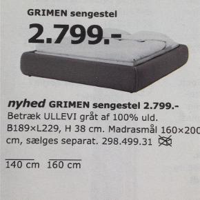 Varetype: Seng Størrelse: 140 x 200 Farve: Grå Oprindelig købspris: 2799 kr.  Rigtig fint sengestel i tyk ramme med gråt uld. Det er en lav sengeramme i 140 x200. Brugt men rigtig fin. Der skal en boksmadras i.