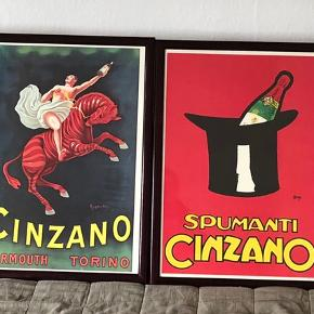4 stk Cinzano Plakater i Brune Rammer, 1 er dog uden glas  • MP: 500kr Samlet  Kun Afhentning