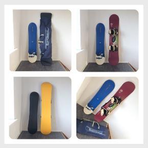 2 x snowboard og taske til salg! Har nogle brugsspor. Kan afhentes i Esbjerg.  114 cm - blå/sort  (aldrig brugt) 195kr.  140 cm, bordeaux/gul + bindinger 195  Taske til det store board - 95 kr.