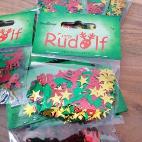 Bordpyndt konfetti, jul, mettalic. 7 g i hver pose. 5 kr pr pose. 3 for 10 kr. Sender plus porto
