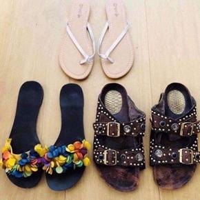 Brown sandals -as good as new Silver flip flops-never used Multicolored sandals-as good as new