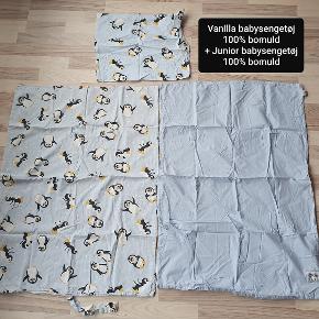 2 stk babysengetøj - 1 sæt Vanilla lyseblå med pingviner inklusiv hovedpudebetræk og 1 sæt Junior Himla og Sweden lyseblå dynebetræk.  Begge er til babydyne.