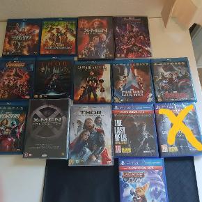 Se billederne. Smid et bud, men ikke skambud. :-)   Der er forskellige spil og film.  På billede 2 er der primært film men også 2 ps4 spil dog. Alt på billede 1 er til ps2.
