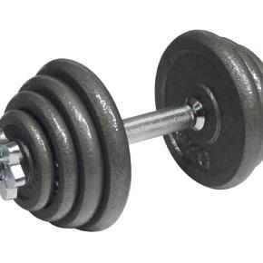 Sættet indeholder 2 håndvægtestænger, med udskiftelige vægtskiver: 4 x 0,5 kg, 4 x 1 kg, 4 x 2 kg, 4 x 3 kg samt 4 låsebolte.  Ialt: 30 kg (2 håndvægte af 15 kg hver).  Kan se den laveste netpris fra ny er 936 kroner!