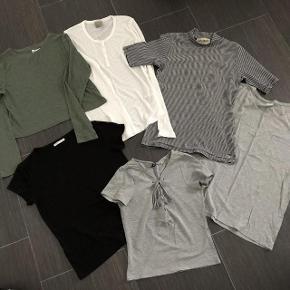 Brand: Pieces + Vero Moda m.f Varetype: 6 stk Bulser Størrelse: Small m.f Farve: se billede  Super udsalg.... Jeg har ryddet ud i klædeskabet og fundet en masse flotte ting som sælges billigt, finder du flere ting, giver jeg gerne et godt tilbud..............   Flotte Bluser.  * Sort Pieces str S * NY - aldrig brugt - Hvid langærmet Vero Moda str S * Grøn Helt ny - aldrig brugt Divided str S * Stribet Desires str S * Grå Jaquline de Youns str Xs = svarer til str S * Grå H&M med binde bånd foran ved halsen - str Xs  Sendes med Coolrunner