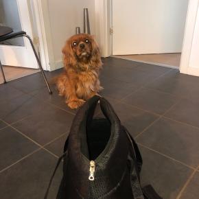 En smart hooked4pets hundetaske, som Næli desværre må erkende hun er for stor til at være i.  Tasken er en transporttaske i sort nylon, 45 cm. Tasken har en netfunktion i siden der gør det muligt for hunden at følge med, selv når den ligger ned. Tasken fremstår næsten som ny😊  Mål: 26 cm x 30cm x 45cm  Kan vaskes