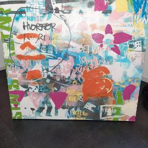 Sean punk lærreds maleri. Måler 100*100 cm. BYD
