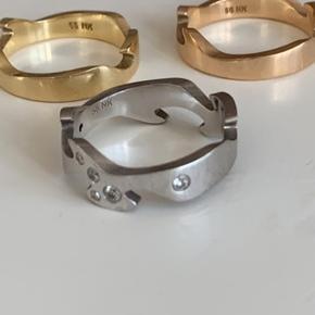 Guld, rosenguld og sølv med ægte diamanter ring Har kvittering