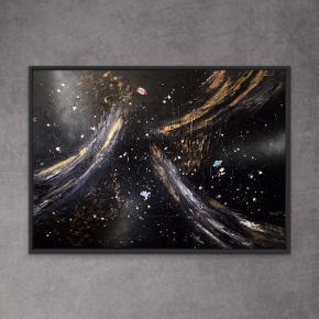 Nyt maleri i sort ramme, med målene 100 x 140 x 4 cm (med ramme). Malet med akryl og spray 🎨 Sort hvid guld raket rumskib ufo alien 🚀🛸 Pris er uden forsendelse. Tager også imod bestillinger efter egne farve- og størrelsesønsker 🍭🙏🏽 ROAR