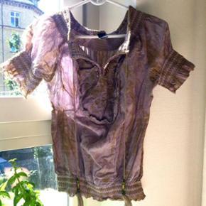 Boheme / Boho tunika bluse skjorte i støvet lilla og grøn