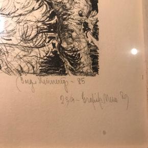 Virkelig skøn tegning i glas og ramme 2 ugler tegnet af Inger Hinnerup i 1985  Passer perfekt til galleri vægen eller børneværelset