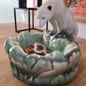 Fineste Ditmar Urbach porcelæn skål/skulptur/askebæger i smukke blågrønne nuancer