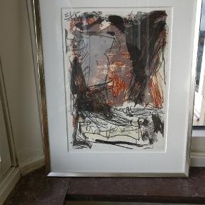 Litografi 81/320 udført af danske Peter Mandrup 91. rammen i glas. Måler i ramme og passepartout Ca. 56 x 71  Uden ramme 35 x 50