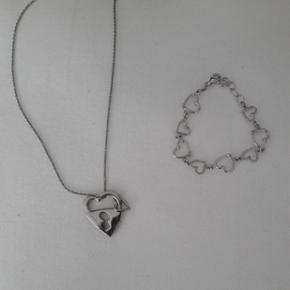 Bracelet coeur en argent et collier coeur Morellato 5chf pièce