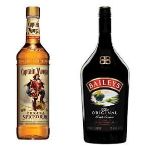 4 flasker 1 liters baileys og 2 flasker 1 liters Captain morgan, sælges till 100 kr pr flaske