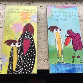 2 stk billeder på træklods af Marianne Komgård - 75 kr for begge to Mål: 10*21 cm og 2 cm i tykkelsen