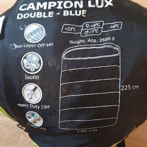 Dobbelt sovepose, helt ny og aldrig brugt. Specifikationer ses på billedet. Ny pris 625, byd gerne.