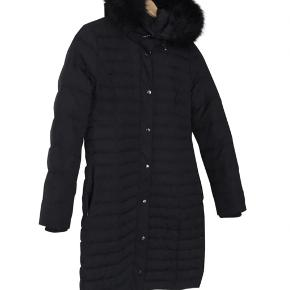 Long navy coat with down and father. Faux fur hood. Fast price