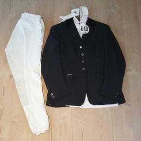 6740 St. Darum Stævnetøj med ridebukser, jakke, skjorte k/æ, handsker - næsten som ny skjorte (black forest) str. 38/40 ridebukser (pikeur) str. 40 jakke (pikeur) str. 38/40  Sælges samlet til 1500,-