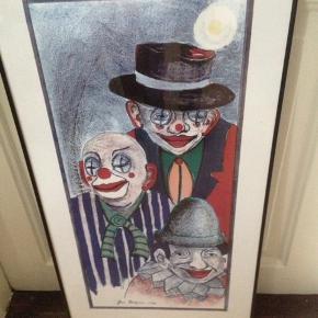 Jens Bilgram klovne plakat i glas og ramme.  80 x 44 cm.