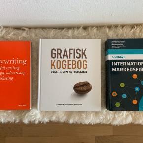 Studiebøger:  International Markedsføring: 50 kr.  Grafisk Kogebog: 50 kr.  Copywriting: 50 kr.