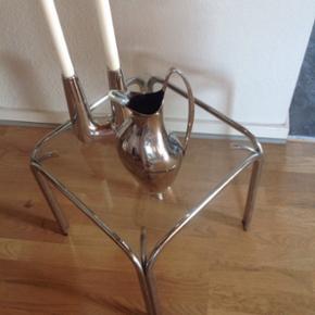 Glasbord med stålben 36x36cm