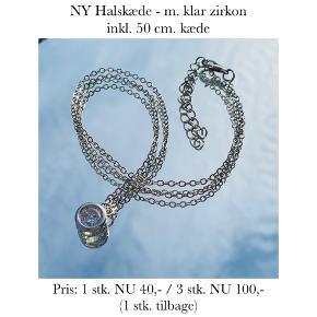 NY Halskæde - m. klar zirkon inkl. 50 cm. kæde   Pris: 1 stk. NU 40,- / 3 stk. NU 100,-  (1 stk. tilbage)  Se også over 200 andre nye produkter, som jeg har til salg herinde :-)